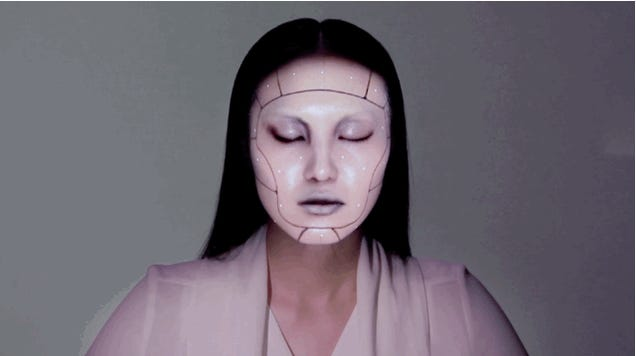 Watch A Facial Tracking Projection Turn This Woman Into A Cyborg