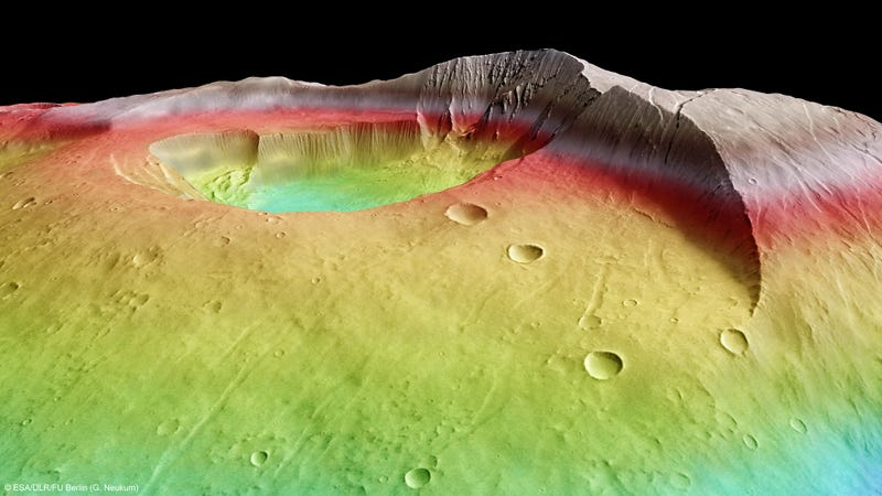Behold Tharsis Tholus, Mars' technicolor dream volcano!