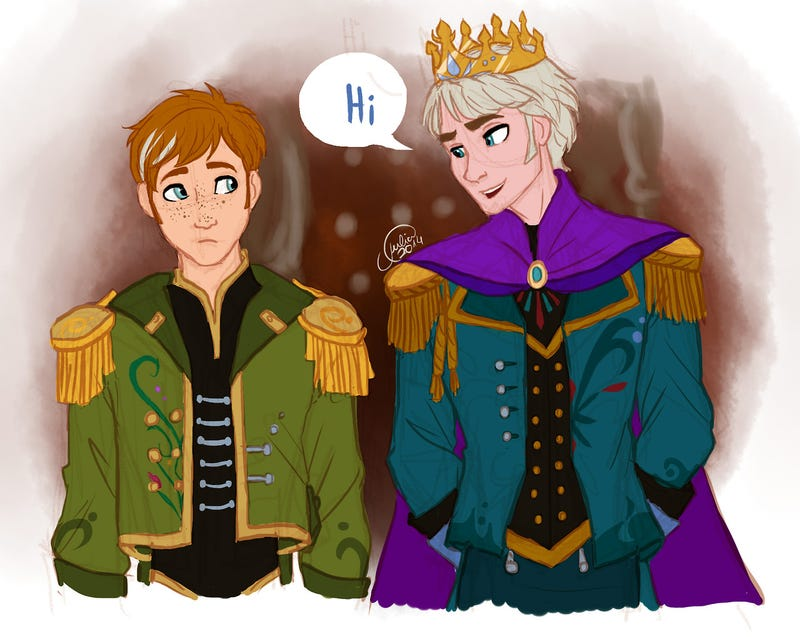 Adorable genderbent Frozen fanart turns Elsa into a Snow King