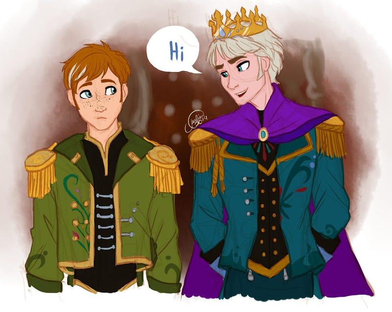 Adorable genderbent Frozen fanart turns Elsa into a Snow King