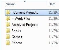 Use Symbols in Folder Names to Pin Important Folders Up Top