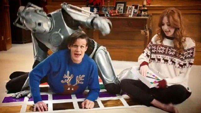 Watch Doctor Who's Matt Smith play Twister with a Cyberman!
