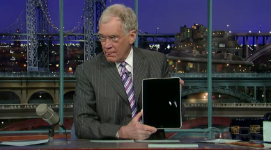 "David Letterman Before Licking an iPad: ""It's Like an Electronic Slinky"""