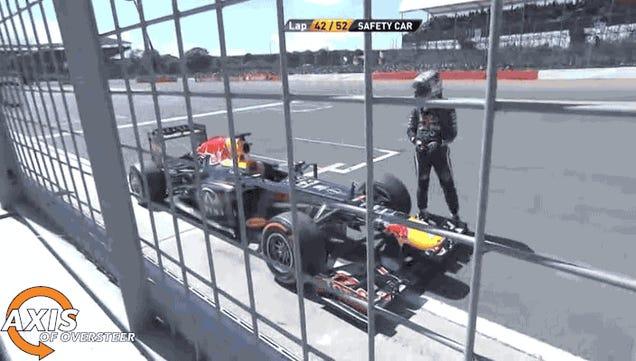 Here's Sebastian Vettel Tripping Over His Own Car