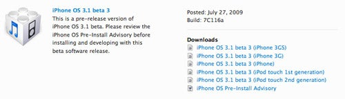 iPhone 3.1 Beta 3 Is Out