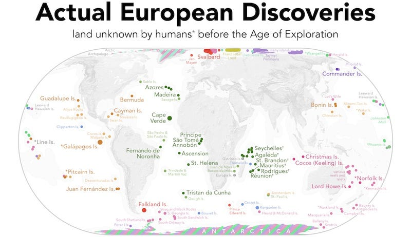 A Map of the Lands Actually Discovered by European Explorers
