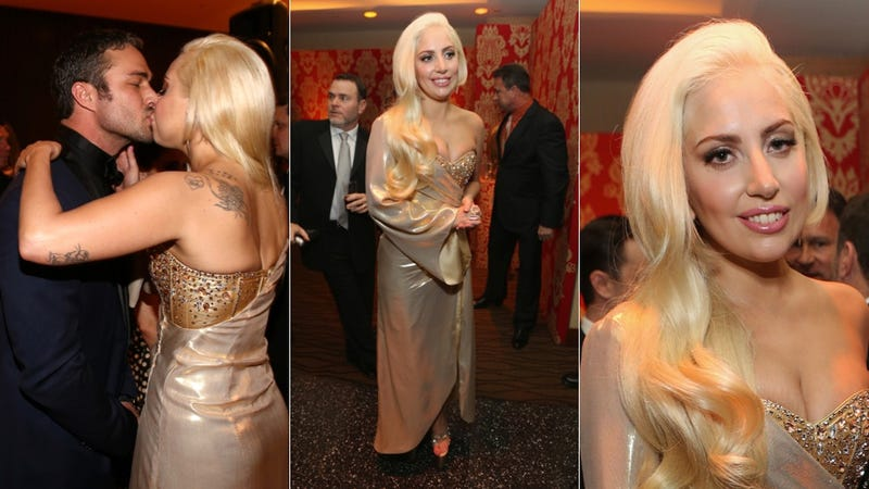 Lady Gaga and Hot Manfriend Kiss and Make Out at Golden Globes Party