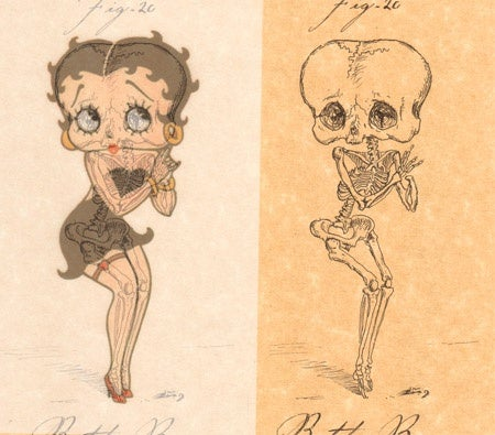 Skeleton illustrations get under cartoon characters' skin