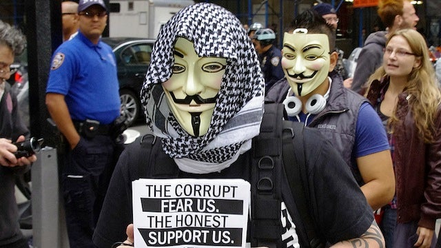 19th Century Law Banning Masks Used to Arrest Wall Street Protesters