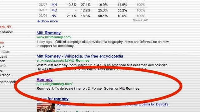 Mitt Romney Gets Screwed Santorum-Style on Google