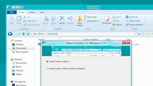 Ribbon Disabler Permanently Removes the Explorer Ribbon in Windows 8