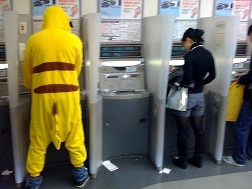 Even Pikachu Uses The ATM