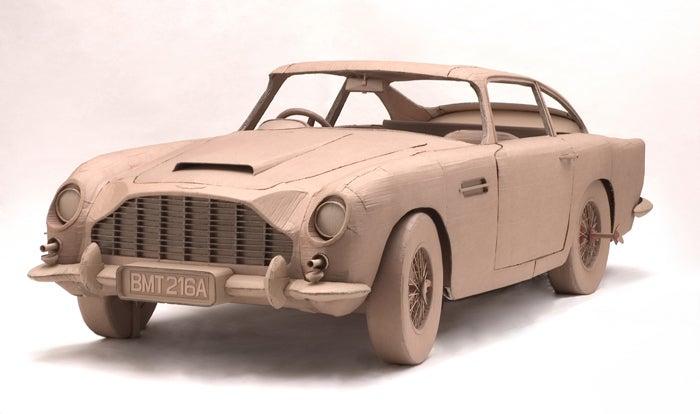 Full-Size Cardboard Aston Martin for Papier-Mâché Bonds
