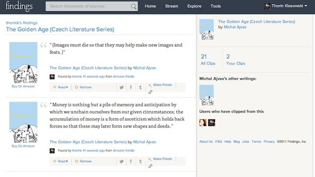 Findings Collects Kindle Highlights for Easy Sharing and Discussion