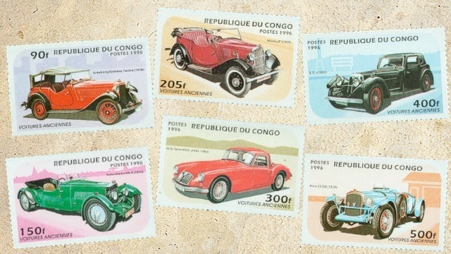 Postal stamp dreams of vintage cars in the Congo