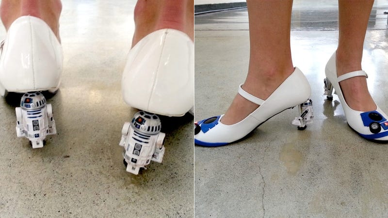 R2D2 heels probably don't spit out a tiny holographic Carrie Fisher, but they still rule