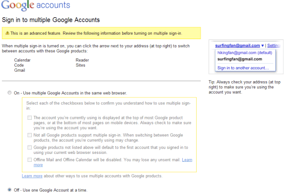 Google Launches Multiple Account Sign-In for Multi-Google Account Holders