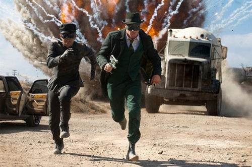 First official pictures of Seth Rogen's exploding superhero, Green Hornet