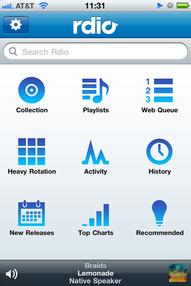 Rdio's Revamped iPhone App Has a New, Squeaky Clean Homescreen