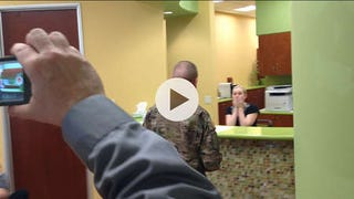 Young Soldier surprises dad, sister, then mom