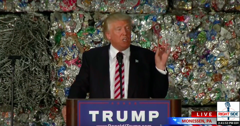 Donald Trump Trashed Paul Ryan's Trade Deal in Front of a Wall of Garbage