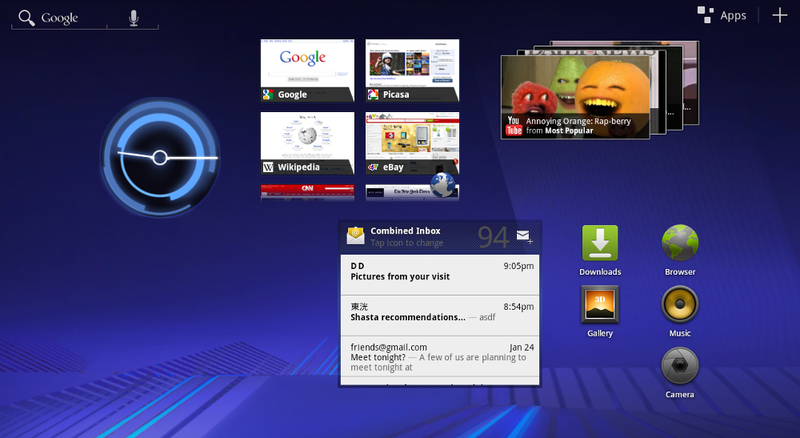 Screenshot Tour of Android 3.0 Honeycomb, Built for Tablets