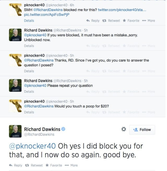 Would Richard Dawkins touch a poop for $20?