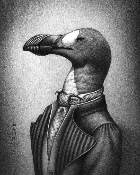 Extinct birds wearing fashions from the year they went extinct