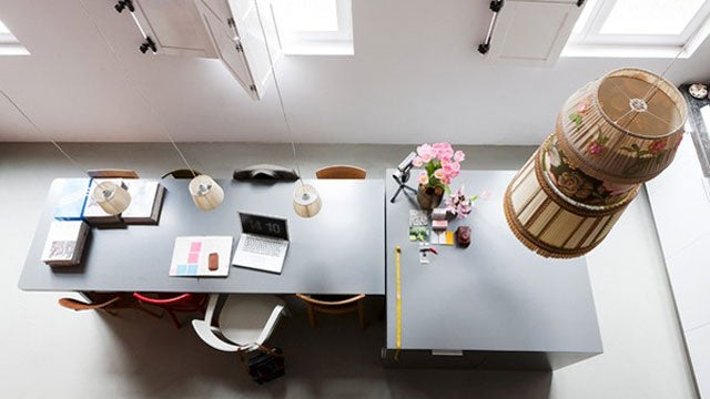Hanging Lamps and Floating Desks: A Productivity Island