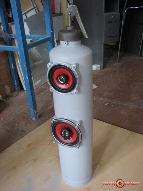 Rusty Old Tanks Become Red-Hot Fire Extiguisher Speakers
