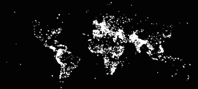 World map created by plotting out each terrorist attack since 1970