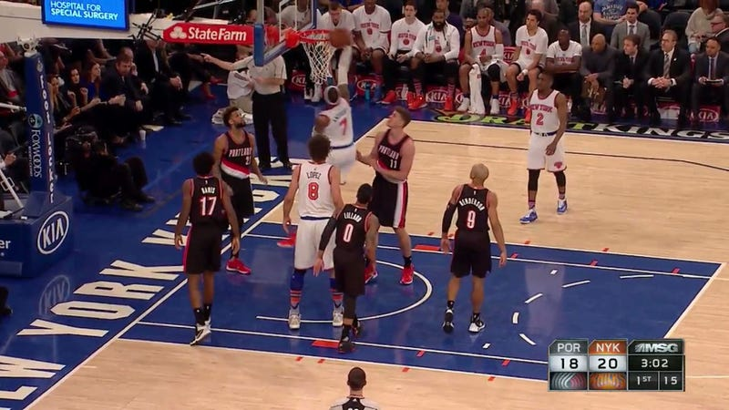 Carmelo Anthony Rejected, Thrown To The Floor By The Rim