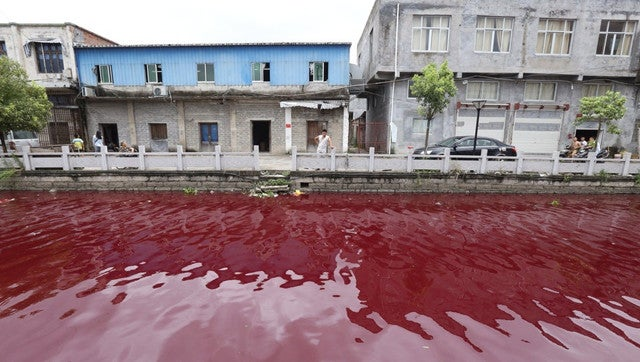 What Turned This River in China into a Blood-Red Mess?
