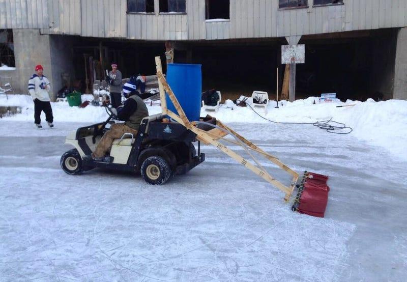 Backyard Hockey Rink Features Homemade Zamboni