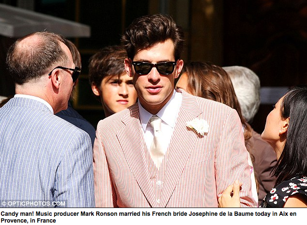 Mark Ronson Gets Married In A Candy-Striped Suit