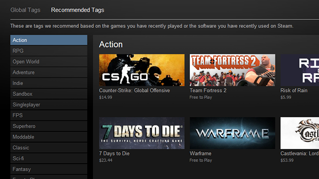Steam Now Allows Users to Tag Games, Get Recommended Games from Tags