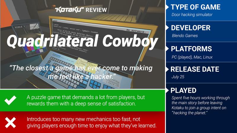 Quadrilateral Cowboy: The Kotaku Review