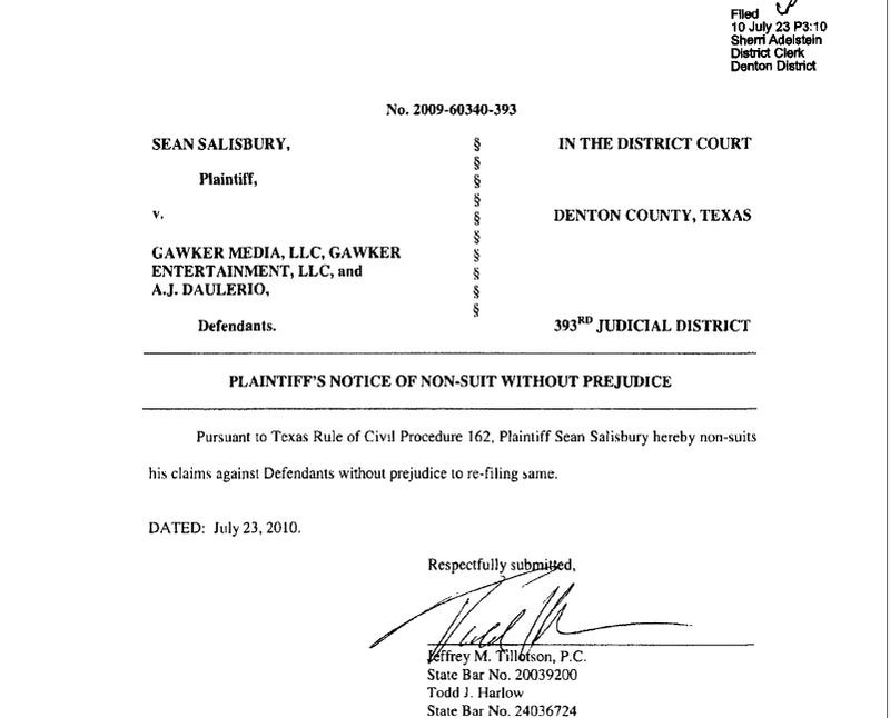 Sean Salisbury Drops His Lawsuit Against Gawker Media, Me