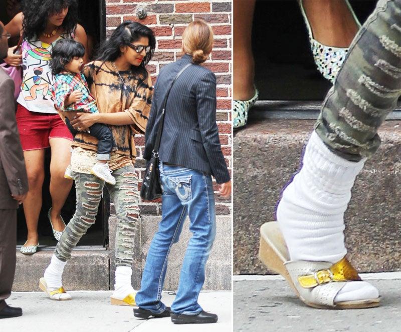 M.I.A.'s Fashion Crime: Sweat Socks Under Sandals