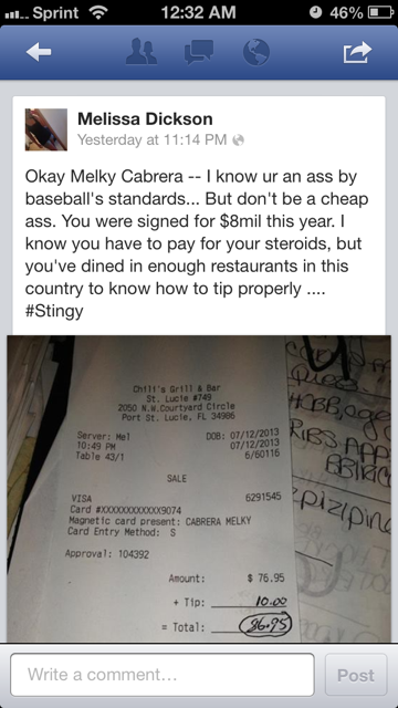 Baseball Blogger/Waitress Claims Melky Cabrera Left Her A Shitty Tip