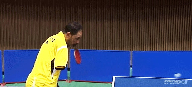 Armless table tennis player will probably beat you using his mouth only