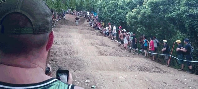 Regular Dude Tries To Ride Pro's Downhill Bike, Eats His Face