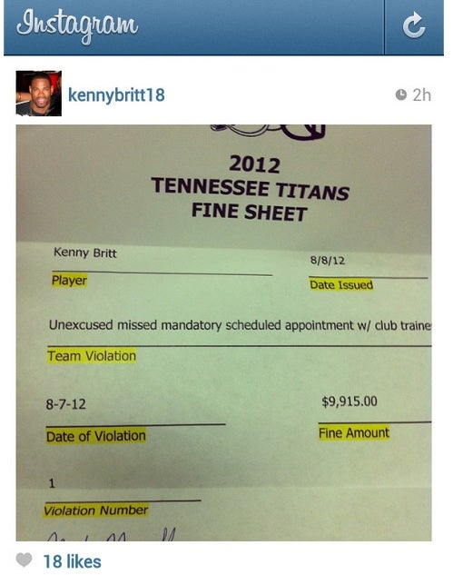 Kenny Britt Posted The Fine He Got From The Titans On Instagram