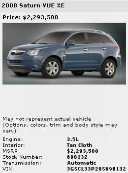 2008 Saturn VUE XE On Sale For $2.3 Million