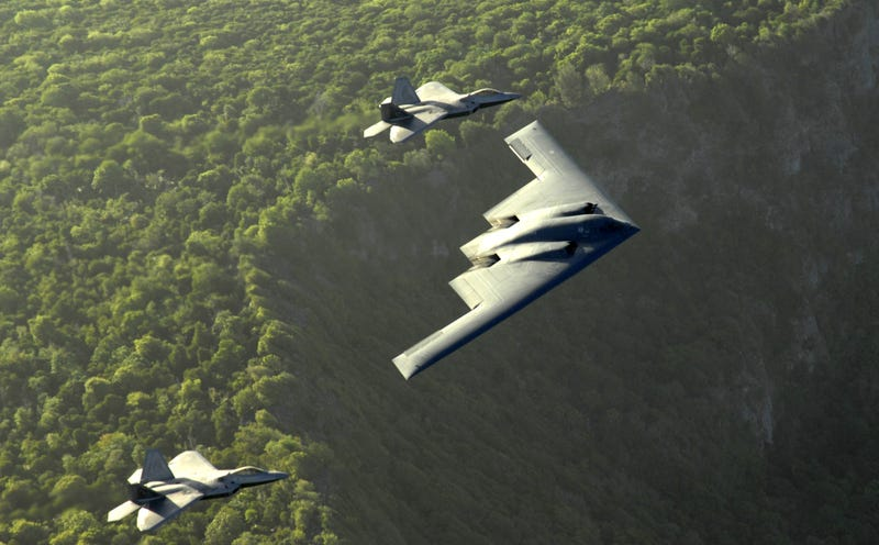 Extremely rare image of two B-2 bombers refueling at the same time