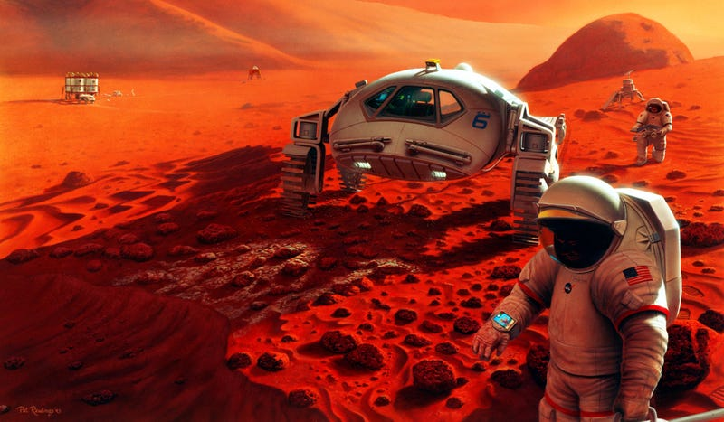 This Artist's Cheerful Renderings of Space Exploration Look Like Stills From The Martian