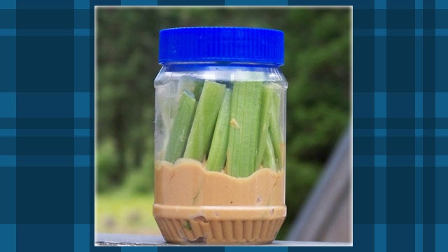 Add Celery Sticks to a Peanut Butter Jar for an Easy Snack on the Road