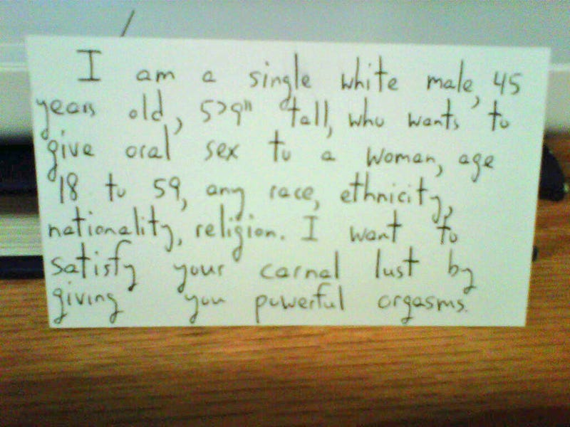 Handwritten Magazine Insert Offers Oral Sex to Any Woman