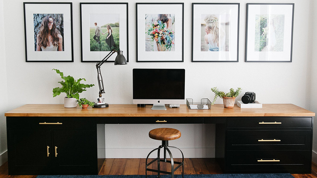 The Black and Gold Butcher Block Workspace