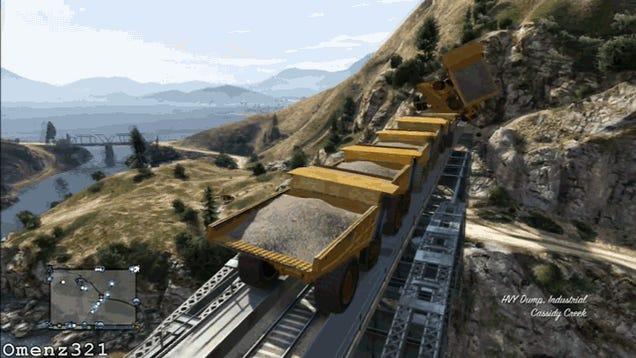 Nothing Stops The GTA V Train. Not Even 10 Dump Trucks.